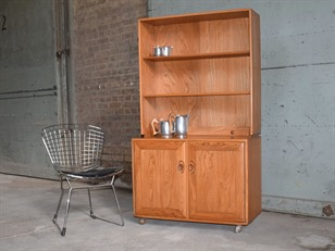 Ercol Light Elm Combination Bookcase
