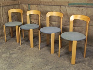 Set of 4 Vintage Scandinavian Ash