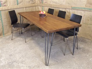Industrial Hairpin Plank Table